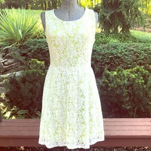 Allison Brittney Wht Lace/Chartreuse Lining Dress